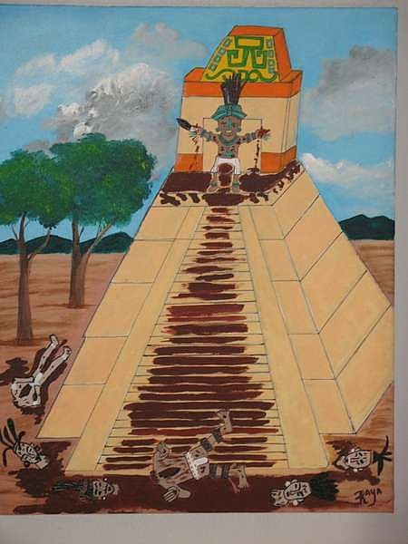 Pyramid Painting - Blood Temples by Dave Raya