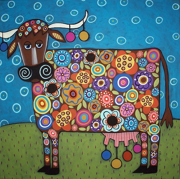 Whimsical Cow Painting - Blooming Cow by Karla Gerard