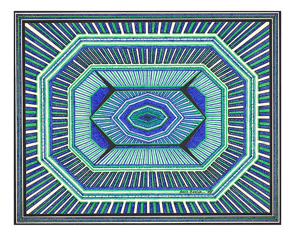 Geometric Design Drawing - Blue And Green Design by Amos Beaida