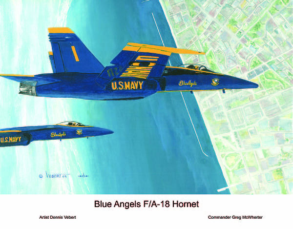 Blue Angels Painting - Blue Angels by Dennis Vebert