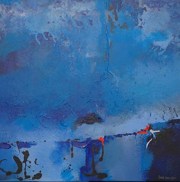 Abstract Painting - Blue by Bart Van Oijen