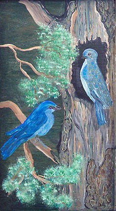 Nature Painting - Blue Birds by Mikki Alhart