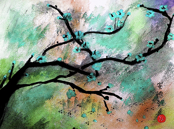 Cherry Blossom Painting - Blue Blossom by Andrea Realpe