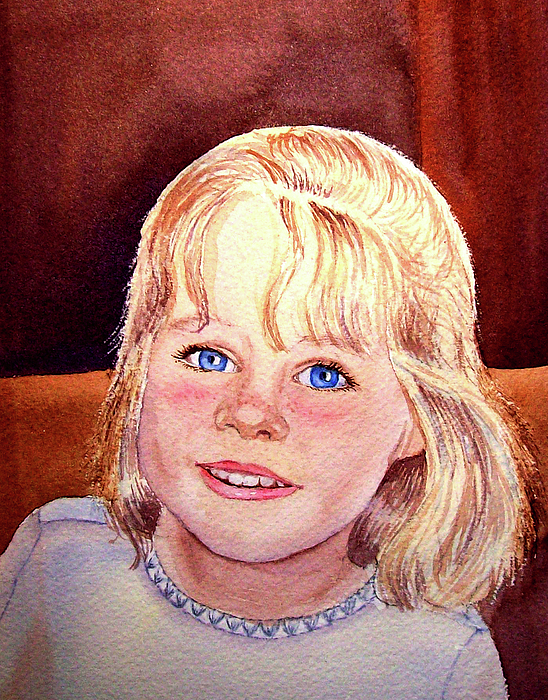 Girl Portrait Painting - Blue Blue Eyes by Irina Sztukowski