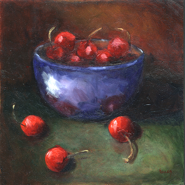 Cherries Painting - Blue Bowl And Cherries by Linda Hiller