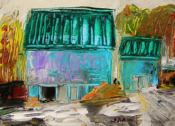 Farm Painting - Blue Buildings Together-musing by John Williams