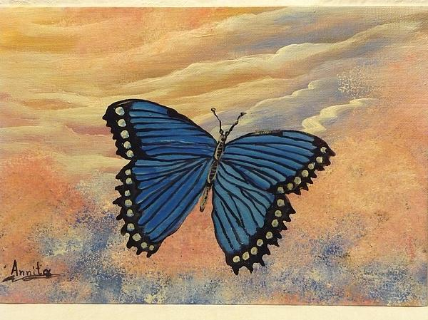 Butterfly Painting - Blue Butterfly   by Anna Dionia