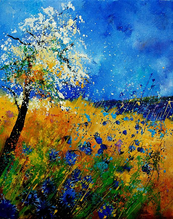 Poppies Painting - Blue Cornflowers 450108 by Pol Ledent
