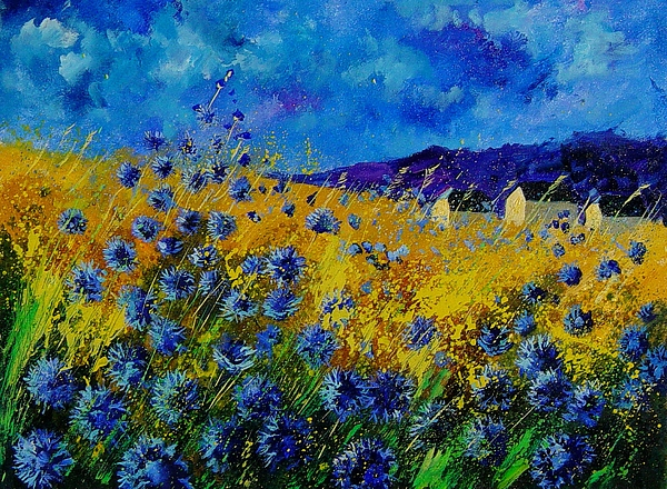 Poppies Painting - Blue Cornflowers by Pol Ledent