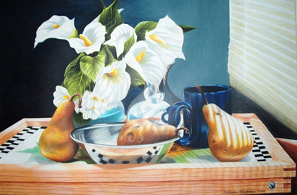 Still Life Drawing - Blue Cup And Pear 3 by Sylvester Hickmon