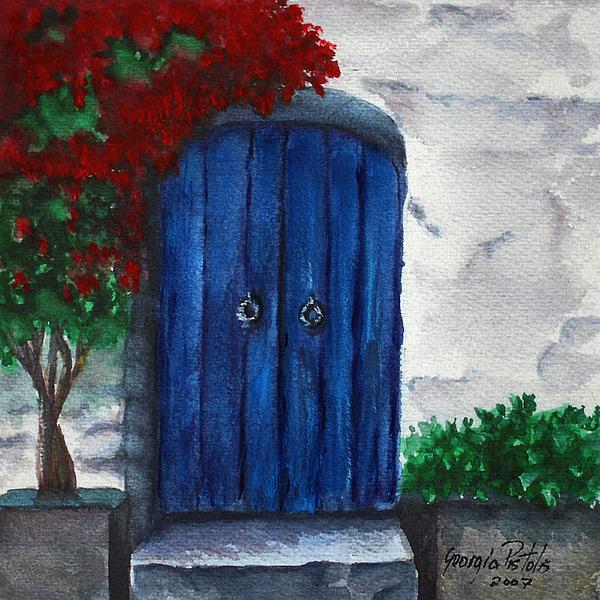 Blue Door Painting - Blue Door by Georgia Pistolis