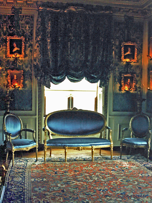Castle Digital Art - Blue Drawing Room by DigiArt Diaries by Vicky B Fuller