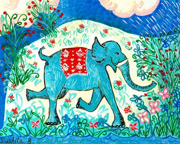 Sue Burgess Painting - Blue Elephant Facing Right by Sushila Burgess