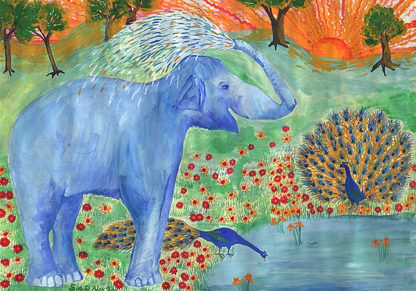 Elephant Painting - Blue Elephant Squirting Water by Sushila Burgess
