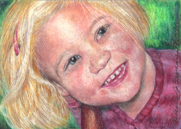 Girl Drawing - Blue Eyes And A Smile by Melissa J Szymanski