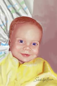 Baby Digital Art - Blue Eyes by Sarah-Lynn Brown