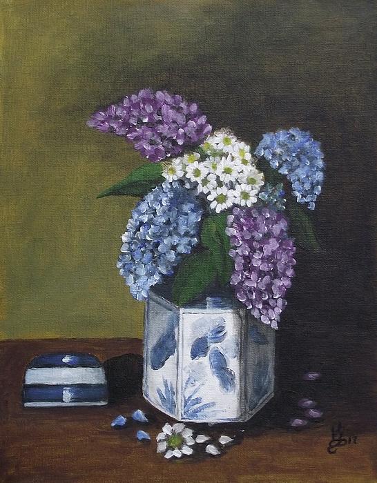 Acrylic Painting - Blue Fish Vase by Kim Selig