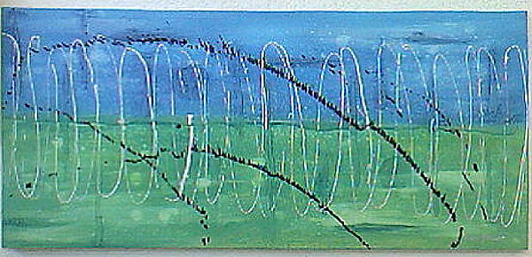 Modern Painting - Blue Green Abstract by Anton Alberts