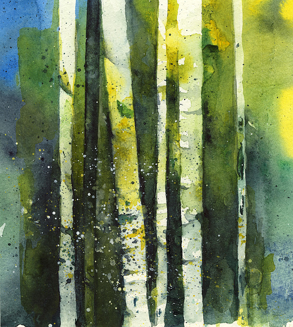 Birch Painting - Blue Green Birches by Maria Tepper