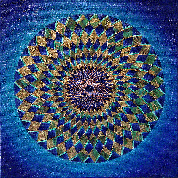 Mandala Painting - Blue Green Planet by Charlotte Backman