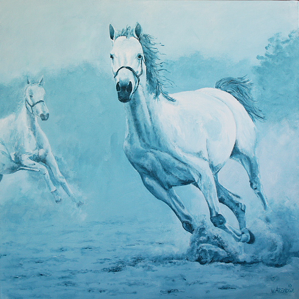Horse Painting - Blue Horses by Willem Arendsz