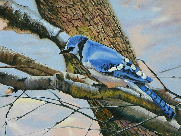 Blue Jay Painting - Blue Jay by Kenneth Young
