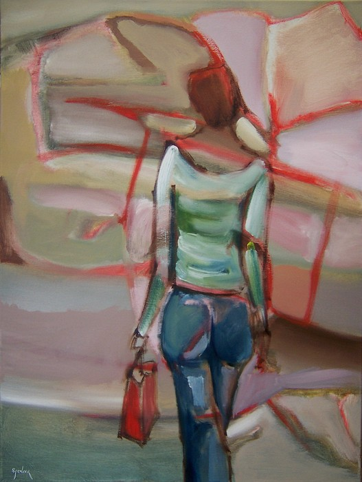 Blue Jeans Lady Painting by Scott Spencer