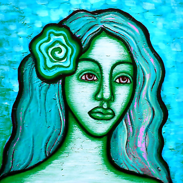 Blue Painting - Blue Lady by Brenda Higginson