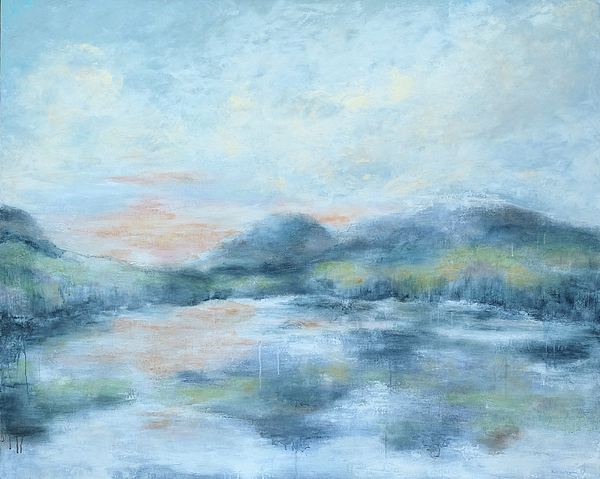 Abstract Painting - Blue Lake  by Katrina Nixon