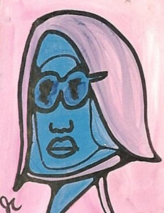 Sun Glasses Painting - Blue Man With Glasses by Jimmy King