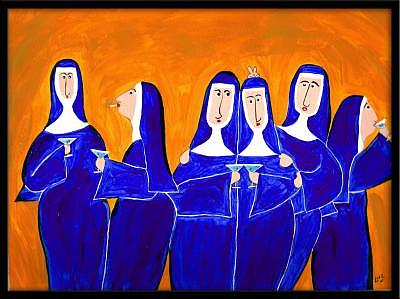 Nuns Painting - Blue Martini Party by Michele Edsall