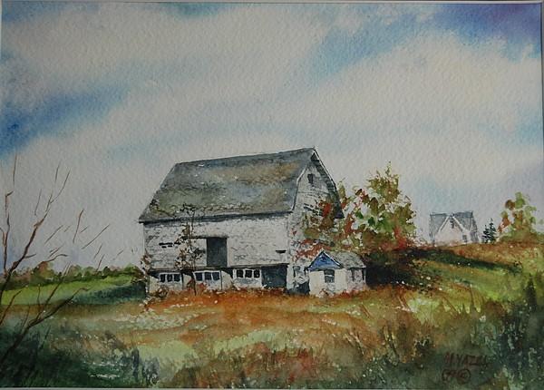 Landscape Painting - Blue Milkhouse by Mike Yazel
