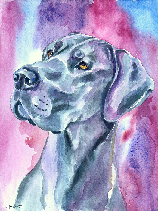Blue Mood Great Dane Painting By Lyn Cook