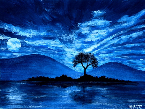 Blue moon painting by wahleyah black for Blue paintings on canvas