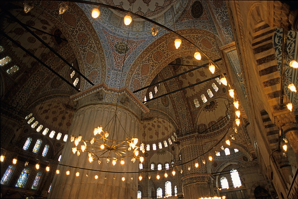 Built Structure Photograph - Blue Mosque Interior by Sami Sarkis