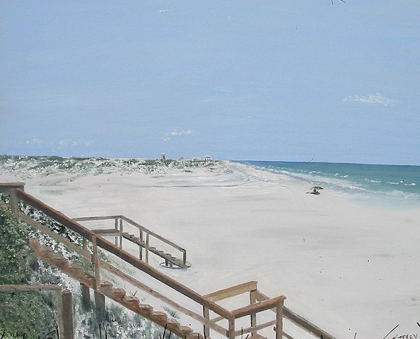 Seascape Painting - Blue Mountain Beach II by John Terry