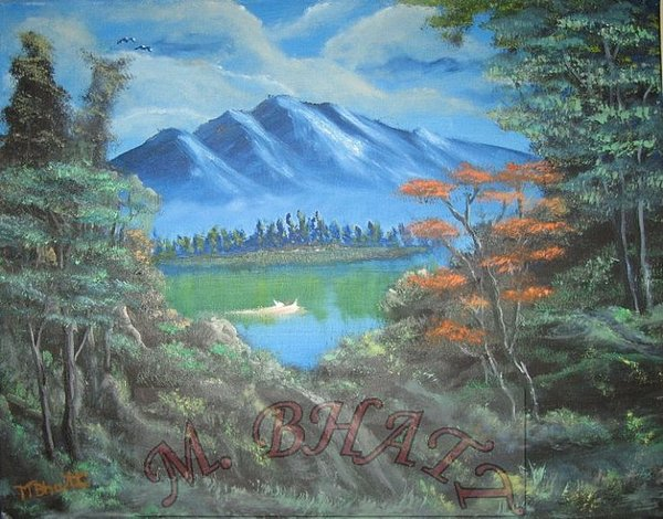 Nature Painting - Blue Mountains by M Bhatt