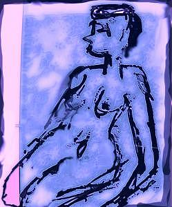 Nude Drawing - Blue On Pink by Noredin Morgan