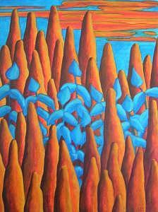 Blue Painting - Blue Pines by Lili Vanderlaan