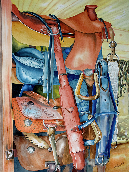 Southwest Watercolor Painting - Blue Saddle by Kandyce Waltensperger