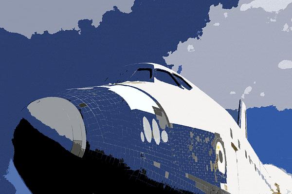 Artwork Painting - Blue Sky Shuttle by David Lee Thompson