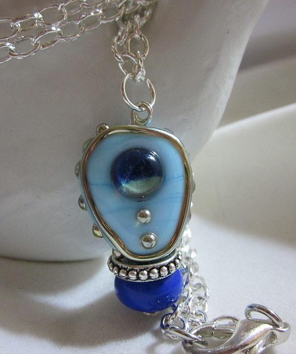 Handmade Lampwork Jewelry - Blue Space Necklace by Janet  Telander