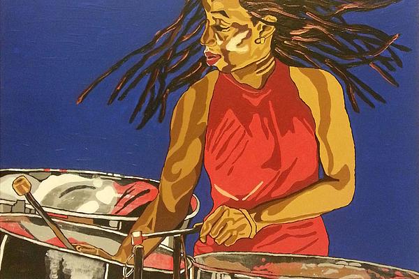 Steel Pan Painting - Blue Steel by Rachel Natalie Rawlins