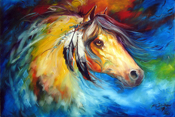 Horse Painting - Blue Thunder War Pony by Marcia Baldwin
