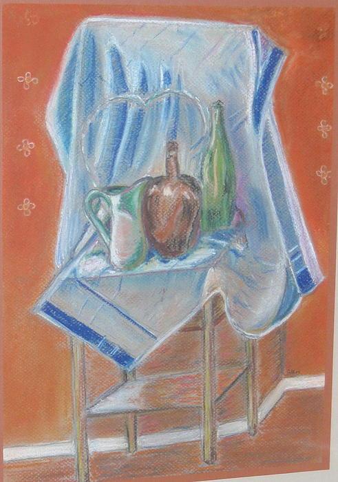 Chair Painting - Blue Towel by Samuel Silk