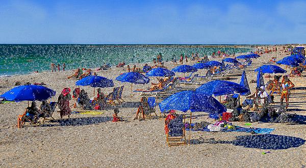 Artwork Painting - Blue Umbrella  Beach by David Lee Thompson