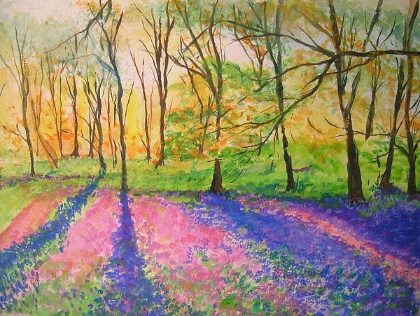 Landscape Painting - Bluebell Wood by Lizzy Forrester