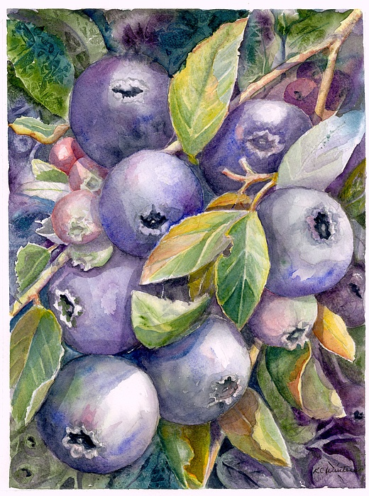 Blueberries Painting - Blueberries by KC Winters