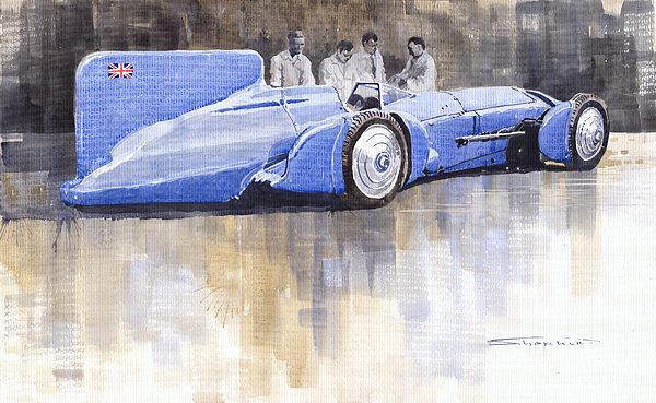 Watercolour Painting - Bluebird World Land Speed Record Car 1931 by Yuriy  Shevchuk