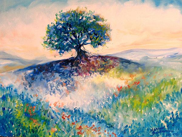 Tree Painting - Bluebonnet Hill by Marcia Baldwin